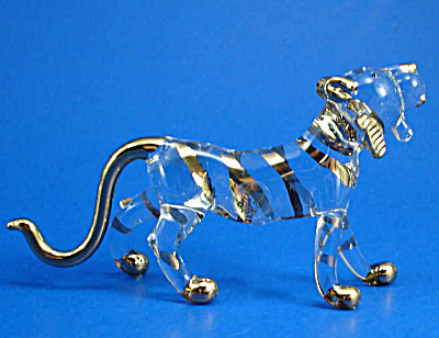 Blown Glass with Gold Trim Miniature Tiger (Image1)