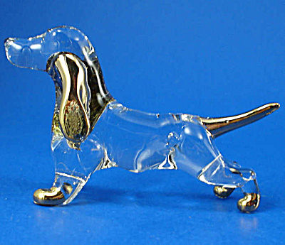 Blown Glass with Gold Trim Miniature Dachshund (Image1)