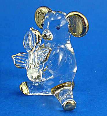 Blown Glass with Gold Trim Miniature Bear with Flower (Image1)