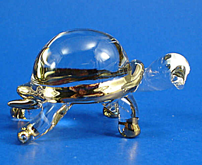 Blown Glass with Gold Trim Miniature Turtle (Image1)