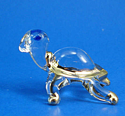 Blown Glass with Gold Trim Miniature Baby Turtle (Image1)
