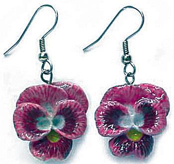 JE050 Viola Flower Earrings (Image1)