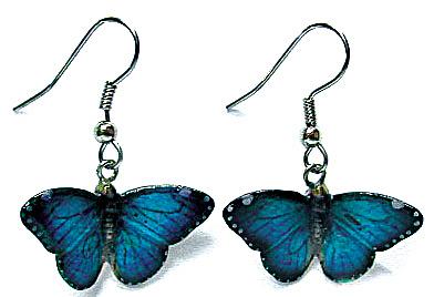 JE023 Blue Morpho Butterfly Earrings (Image1)