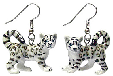 Northern Rose Snow Leopard Earrings