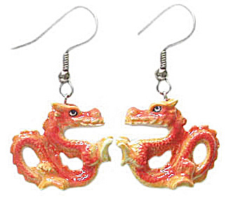 Northern Rose Good Luck Dragon Earrings