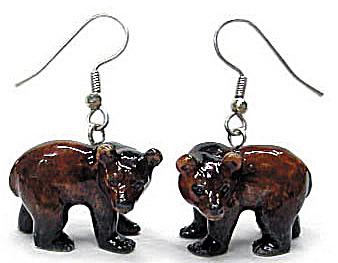 Northern Rose Brown Bear Earrings (Image1)
