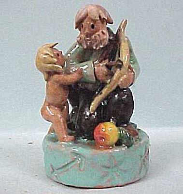 1960s Handmade Pottery Man With Boy