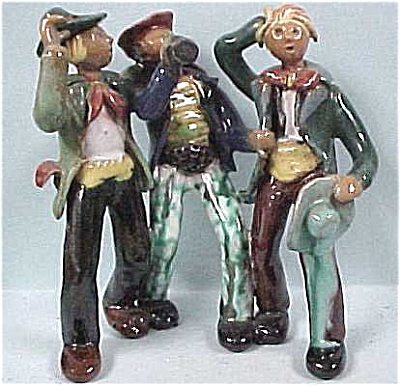 Handmade Pottery Three Drinking Buddies