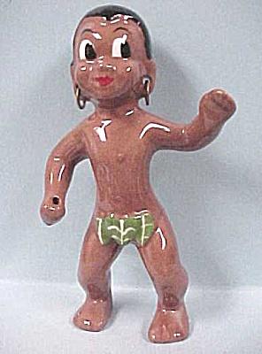 1950s California Pottery Hawaiian Man (Image1)