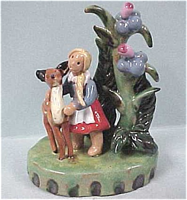 Austrian Handmade Pottery Girl With Deer