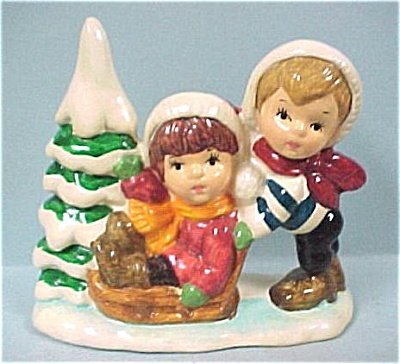 1981 Enesco Children Playing In The Snow