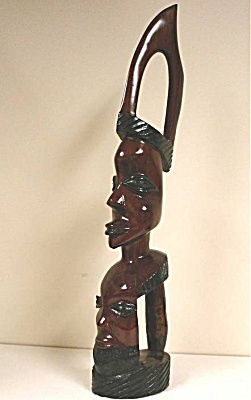 Unusual African Carved Wood Double Head