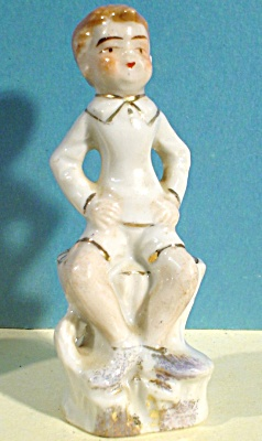 Miniature Porcelain Boy on Stump (Image1)