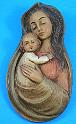 Vintage Plaster Madonna and Child Wall Plaque (Image1)