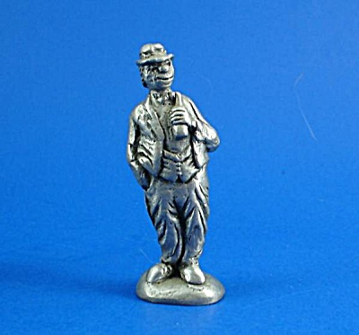 Pewter Miniature Clown With Bottle