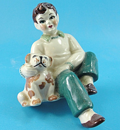 Ceramic Arts Studio Boy With Puppy Shelf Sitter
