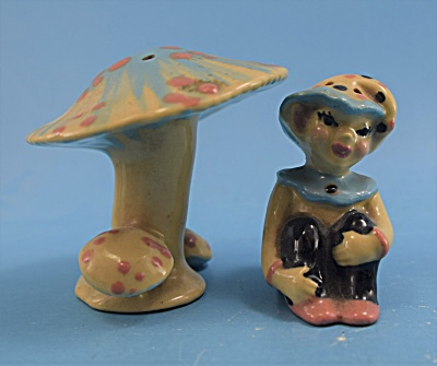 Ceramic Arts Studio Pixie With Mushroom Shakers