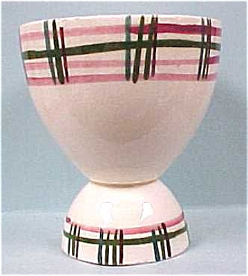 1950s/1960s Plaid Pottery Egg Cup (Image1)