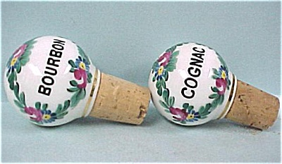 Two Handpainted Porcelain Liquor Corks (Image1)