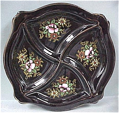 1950s Japan Redware Divided Plate (Image1)