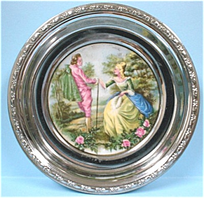 Royal Copley Chrome and Pottery Coaster (Image1)