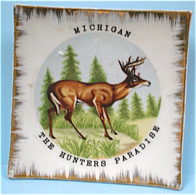 Michigan Souvenir Miniature Deer Plate (Image1)