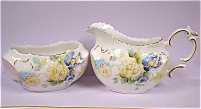 c1900 Handpainted Porcelain Cream and Sugar (Image1)
