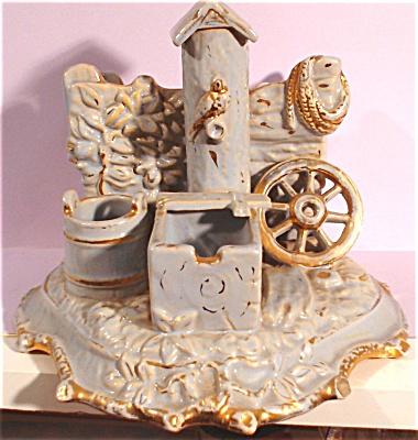 Mid/Late 1800s Matchholder Blue Pump Scene (Image1)