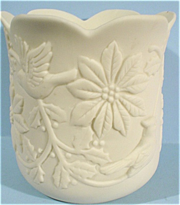 1989 Lefton Bisque Christmas Candle Cup (Image1)