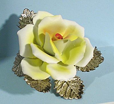 Porcelain Yellow Rose On Silver Plate Leaves