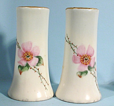 Unmarked Porcelain Pink Flower Salt And Pepper Shakers