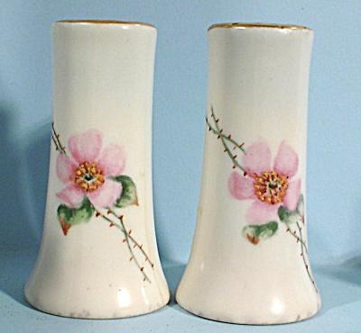 Unmarked Porcelain Pink Flower Salt and Pepper Shakers (Image1)