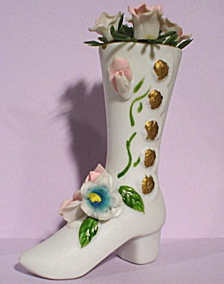 High Button Boot Shoe With Roses