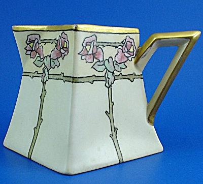 Limoges Handpainted Porcelain Square Creamer