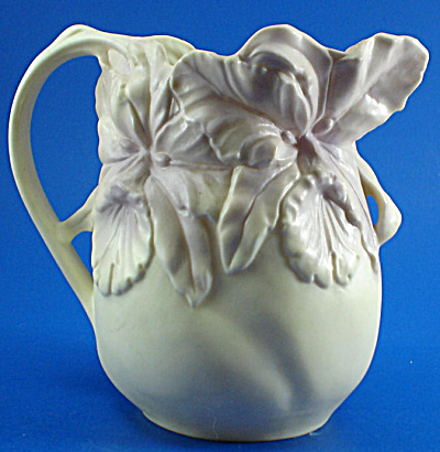 Beautiful Delicate Earthenware Iris Pitcher (Image1)