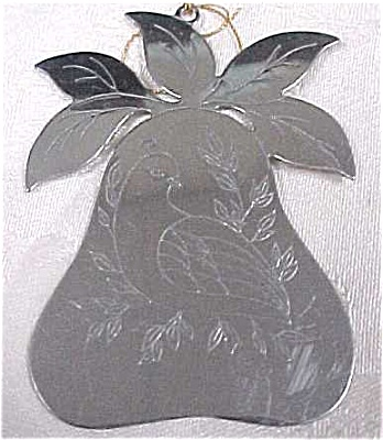 Christmas Partrige In A Pear Metal Ornament