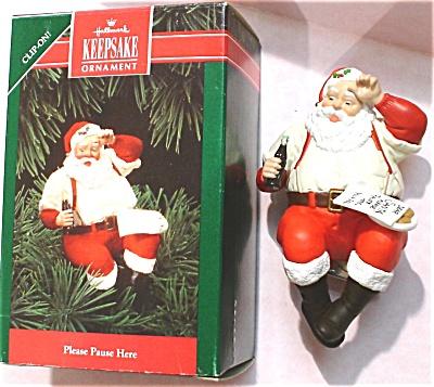 1992 Hallmark Clip-on Coca-Cola Santa Ornament (Image1)