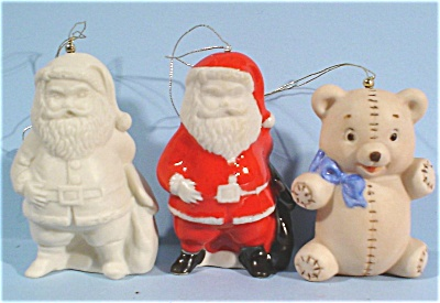 Three Ceramic Ornaments - Two Santas and a Bear (Image1)