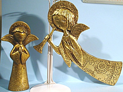 Two Italian Golden Angel Figures