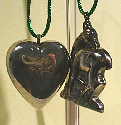 Silverplate Deer and Heart Ornaments (Image1)