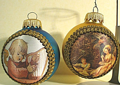 Two Glass Christmas Ornaments