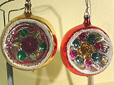 Two Glass Indent Christmas Ornaments