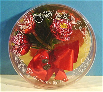 1950s/1960s Glass Roses Christmas Pin