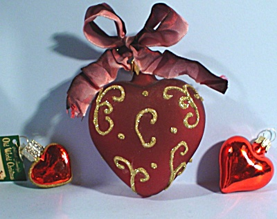 Three New Glass Heart Ornaments