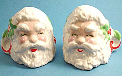 1950s Pottery Santa Candle Holder Pair (Image1)