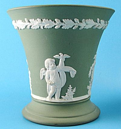 Wedgwood Green Jasperware Posy Vase with Cherubs (Image1)