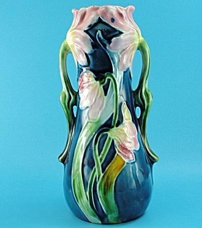 Art Nouveau Majolica Art Cobalt Floral Pottery Vase (Image1)