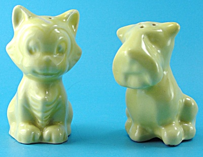 Vintage Pottery Figaro Cat And A Scotty Dog S/p Shakers