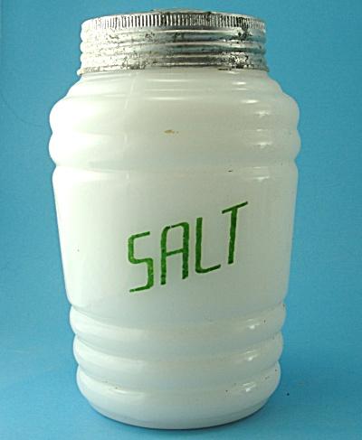 Vintage Milk Glass Range Size Salt Shaker (Image1)