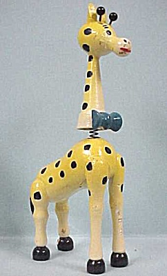 1960s Wood Nodder Giraffe